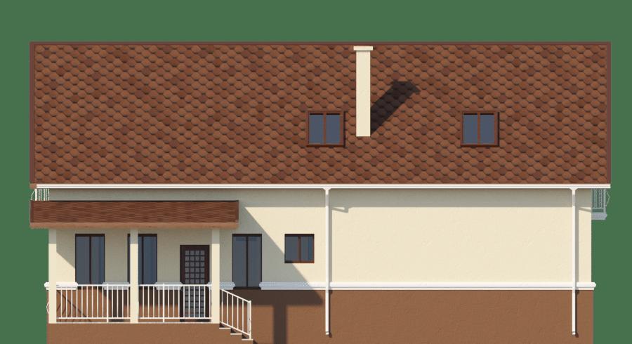 Фасад мансардного дома с гаражом, террасой и балконом «КМ-58» - слева
