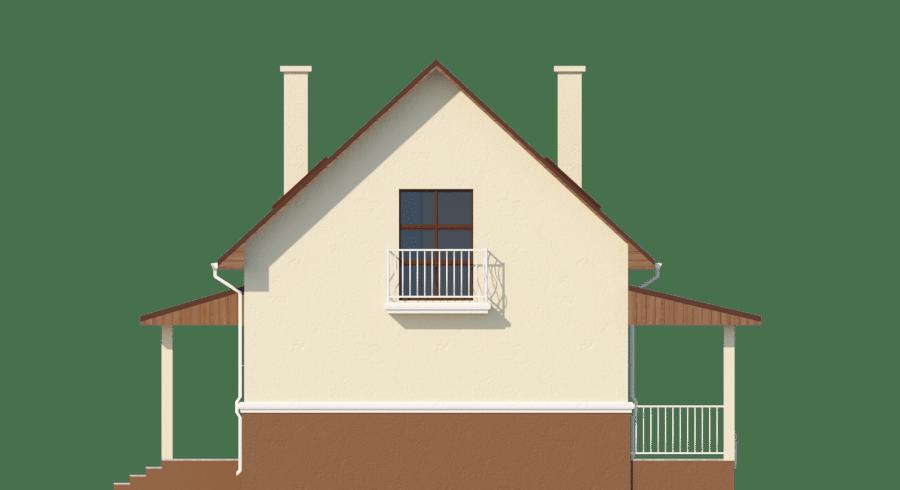 Фасад мансардного дома с гаражом, террасой и балконом «КМ-58» - сзади