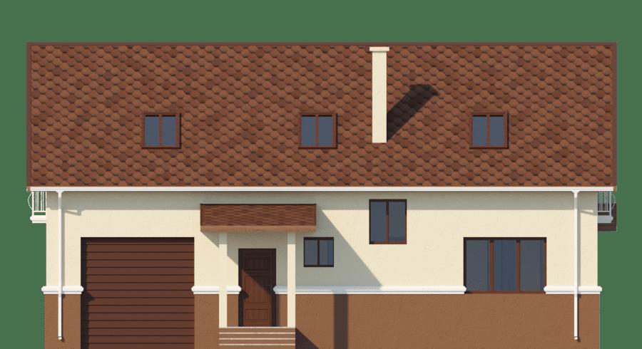 Фасад мансардного дома с гаражом, террасой и балконом «КМ-58» - справа