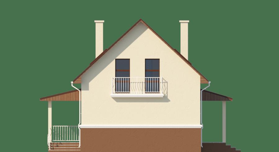 Фасад мансардного дома с гаражом, террасой и балконом «КМ-58» - спереди