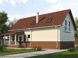 Проект мансардного дома с гаражом, террасой и балконом «КМ-58»