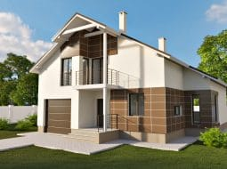 Проект мансардного дома с гаражом и балконом «КМ-59»