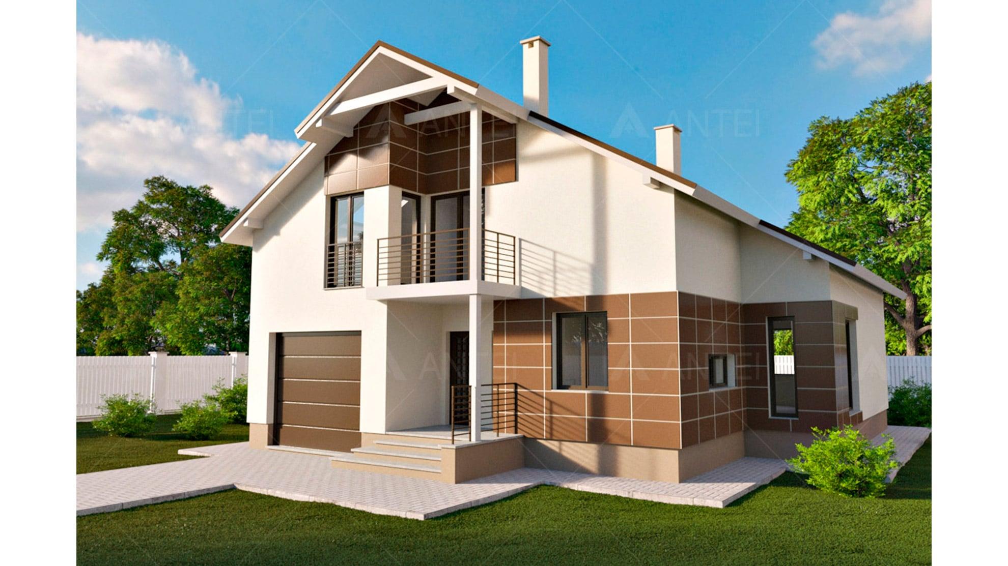 Проект мансардного дома с гаражом и балконом «КМ-59» - фото №1