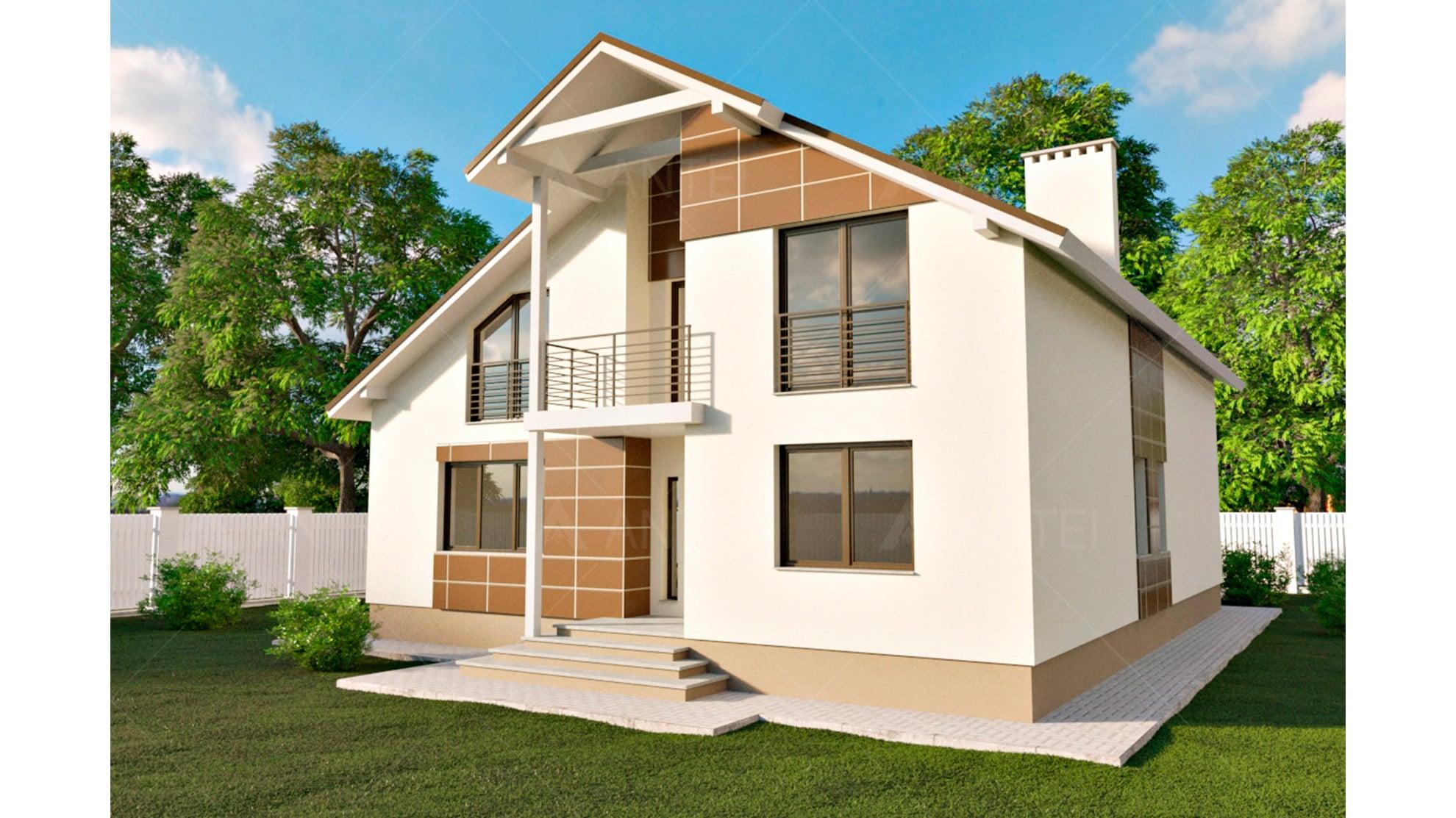 Проект мансардного дома с гаражом и балконом «КМ-59» - фото №2
