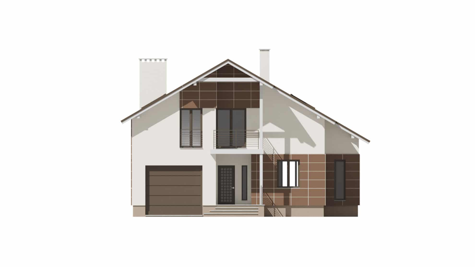 Фасад мансардного дома с гаражом и балконом «КМ-59» - спереди