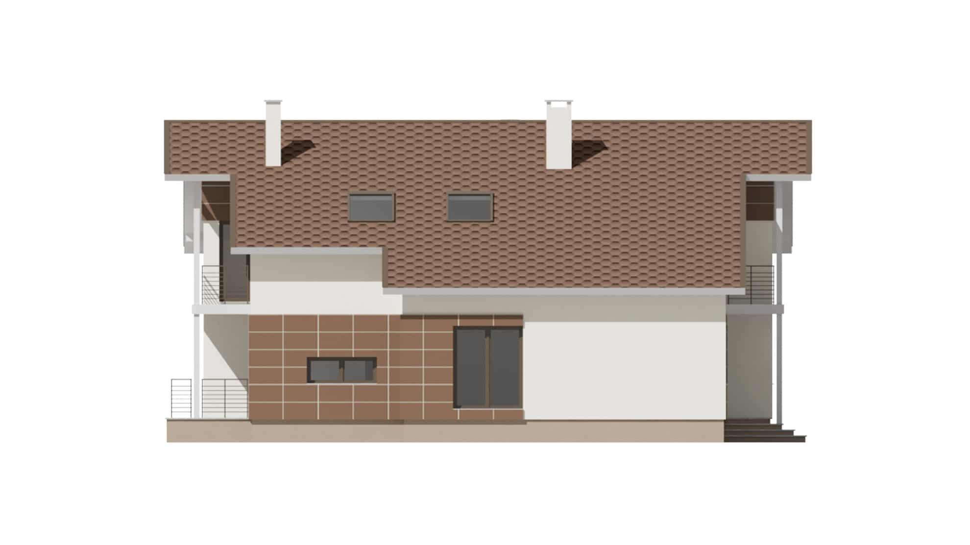 Фасад мансардного дома с гаражом и балконом «КМ-59» - справа