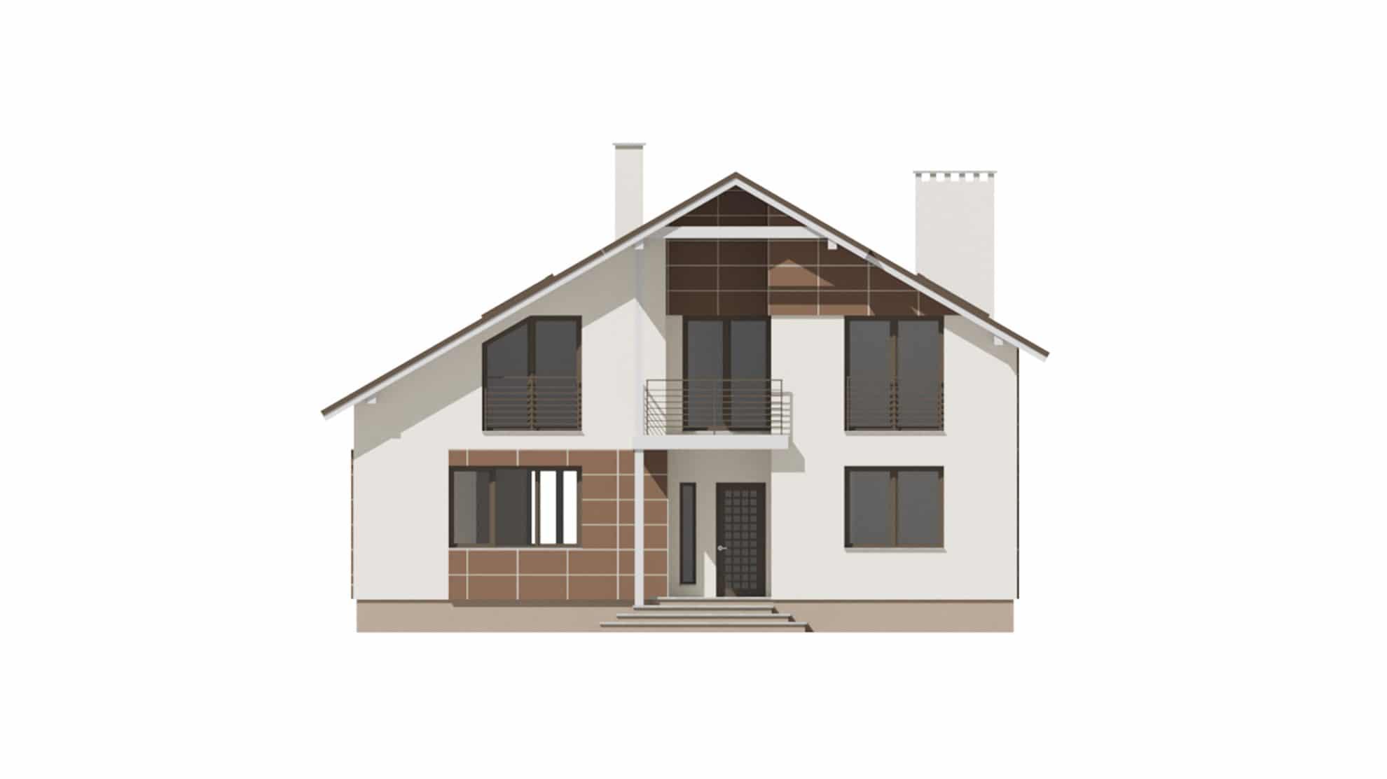 Фасад мансардного дома с гаражом и балконом «КМ-59» - сзади
