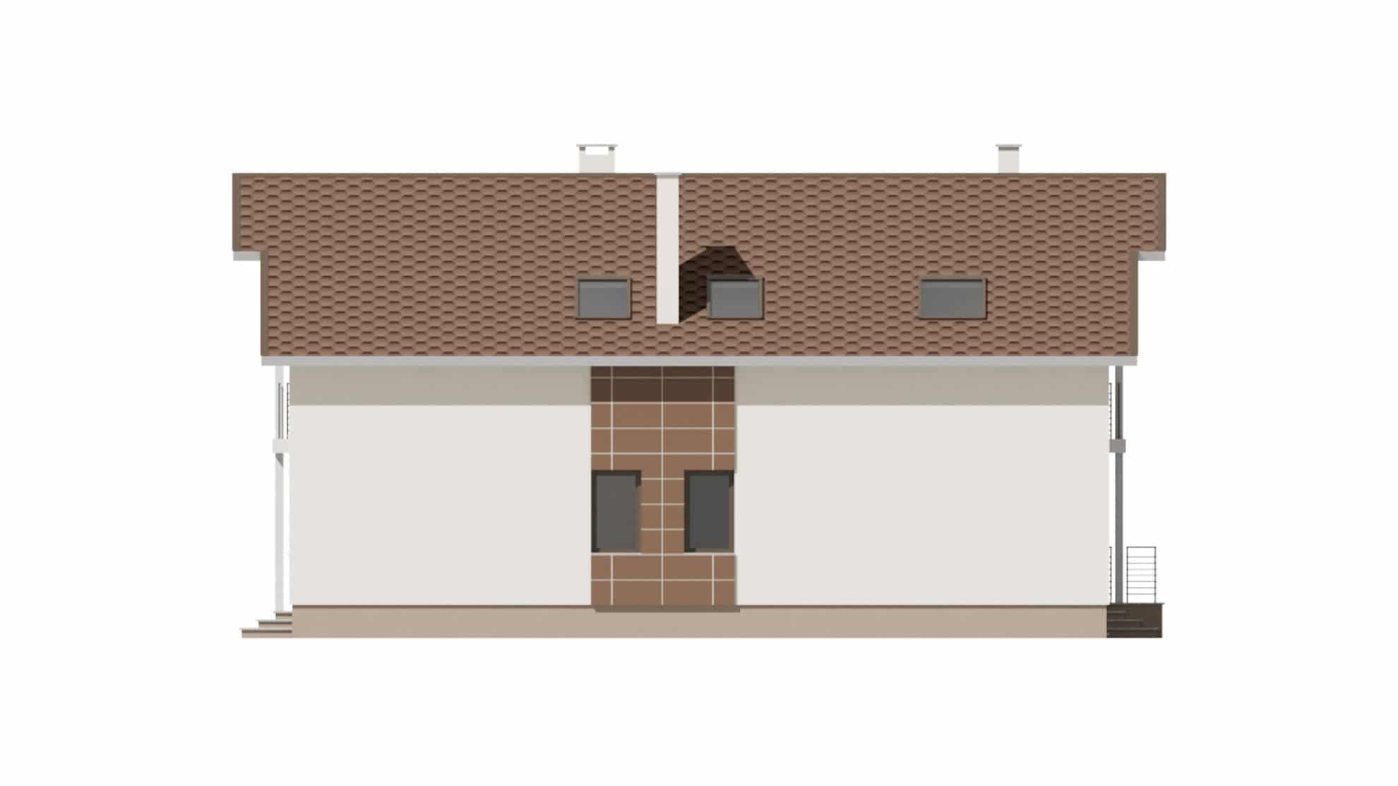 Фасад мансардного дома с гаражом и балконом «КМ-59» - слева