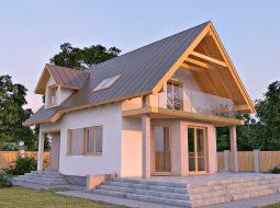 Проект мансардного дома с террасой «КМ-6»