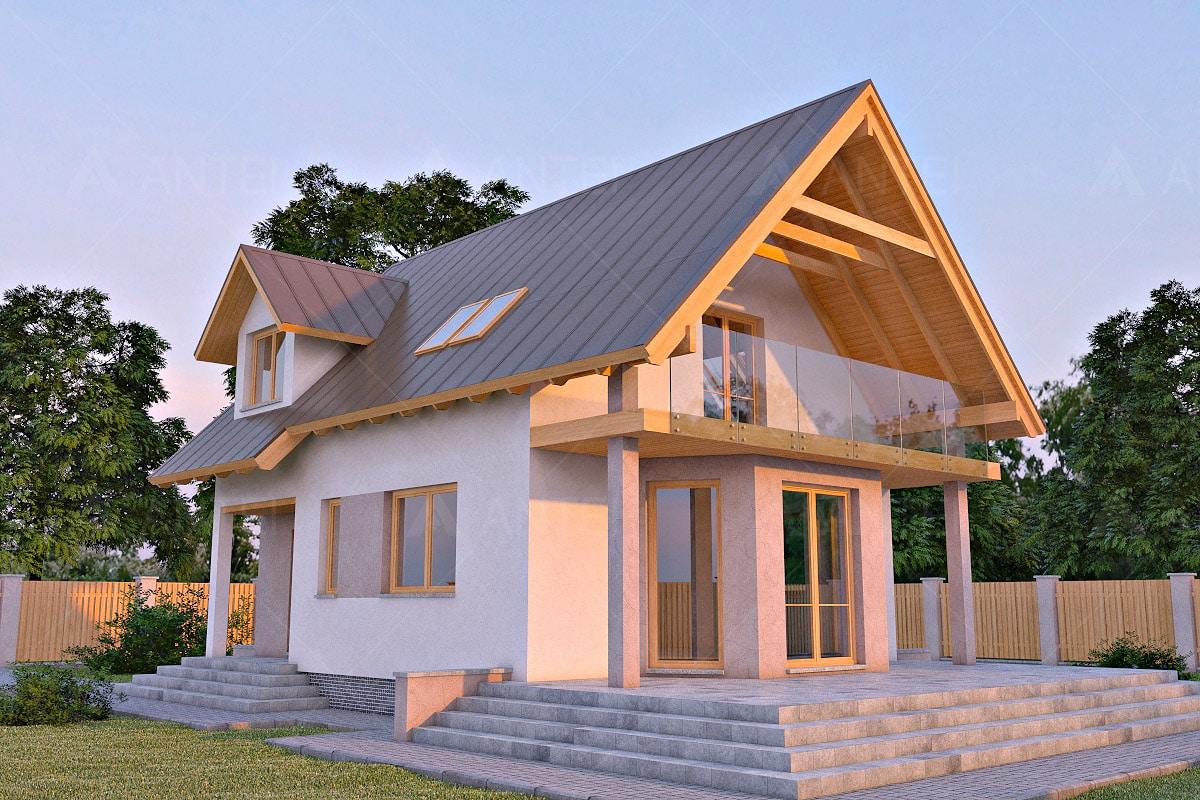 Проект мансардного дома с террасой «КМ-6» - фото №1