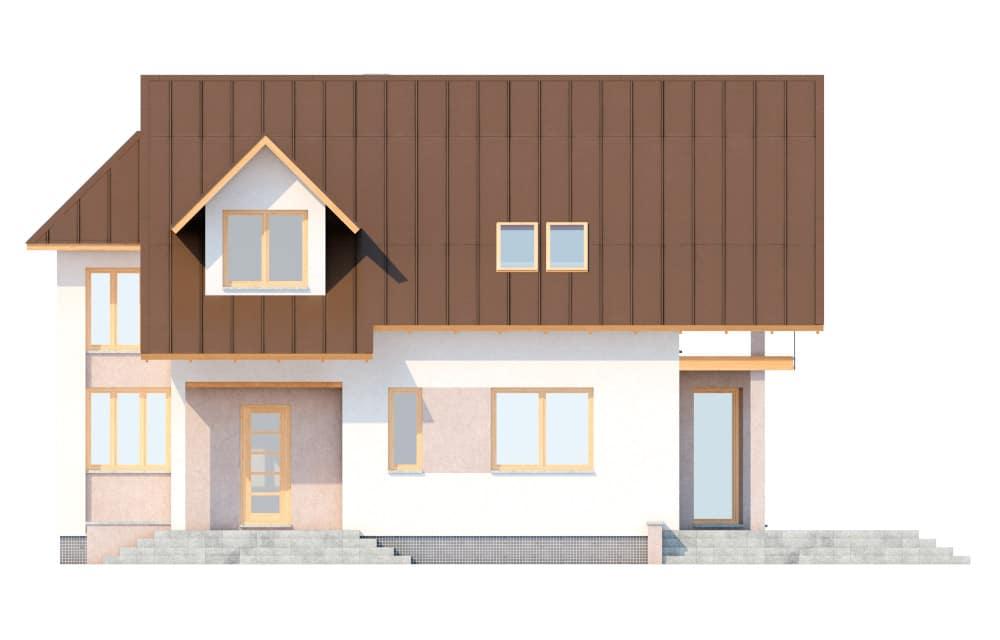 Фасад мансардного дома с террасой «КМ-6» - спереди