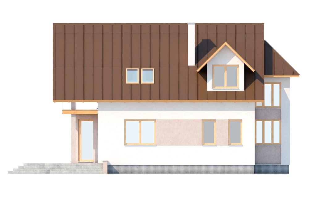 Фасад мансардного дома с террасой «КМ-6» - сзади
