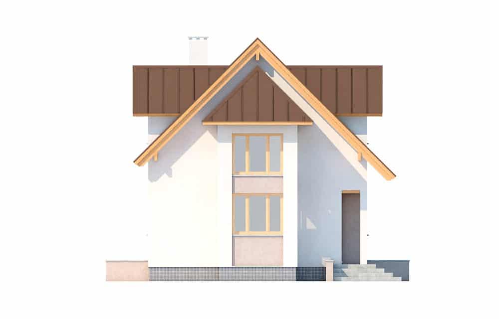 Фасад мансардного дома с террасой «КМ-6»