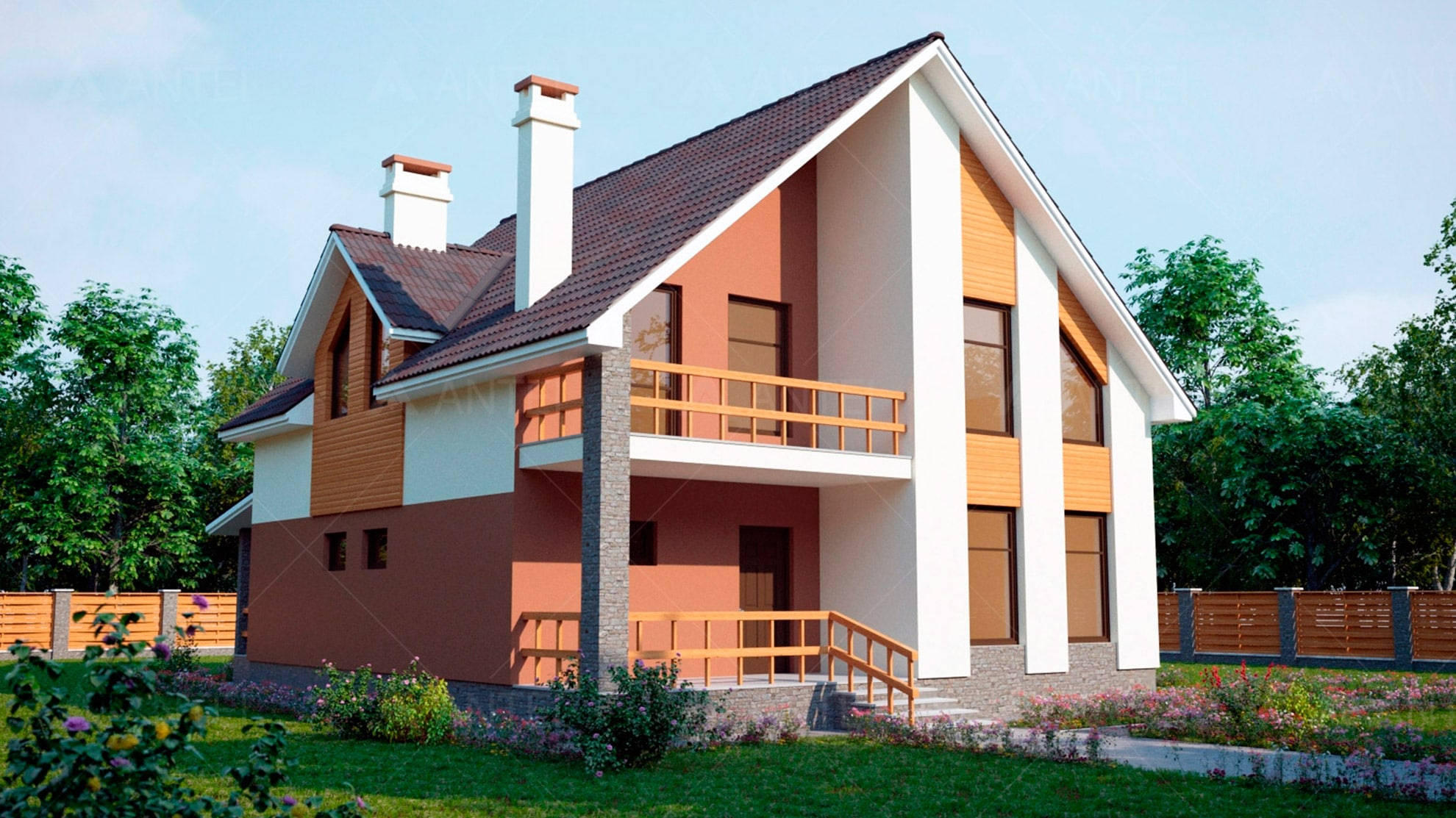 Проект мансардного дома с террасой и балконом «КМ-60» - фото №1