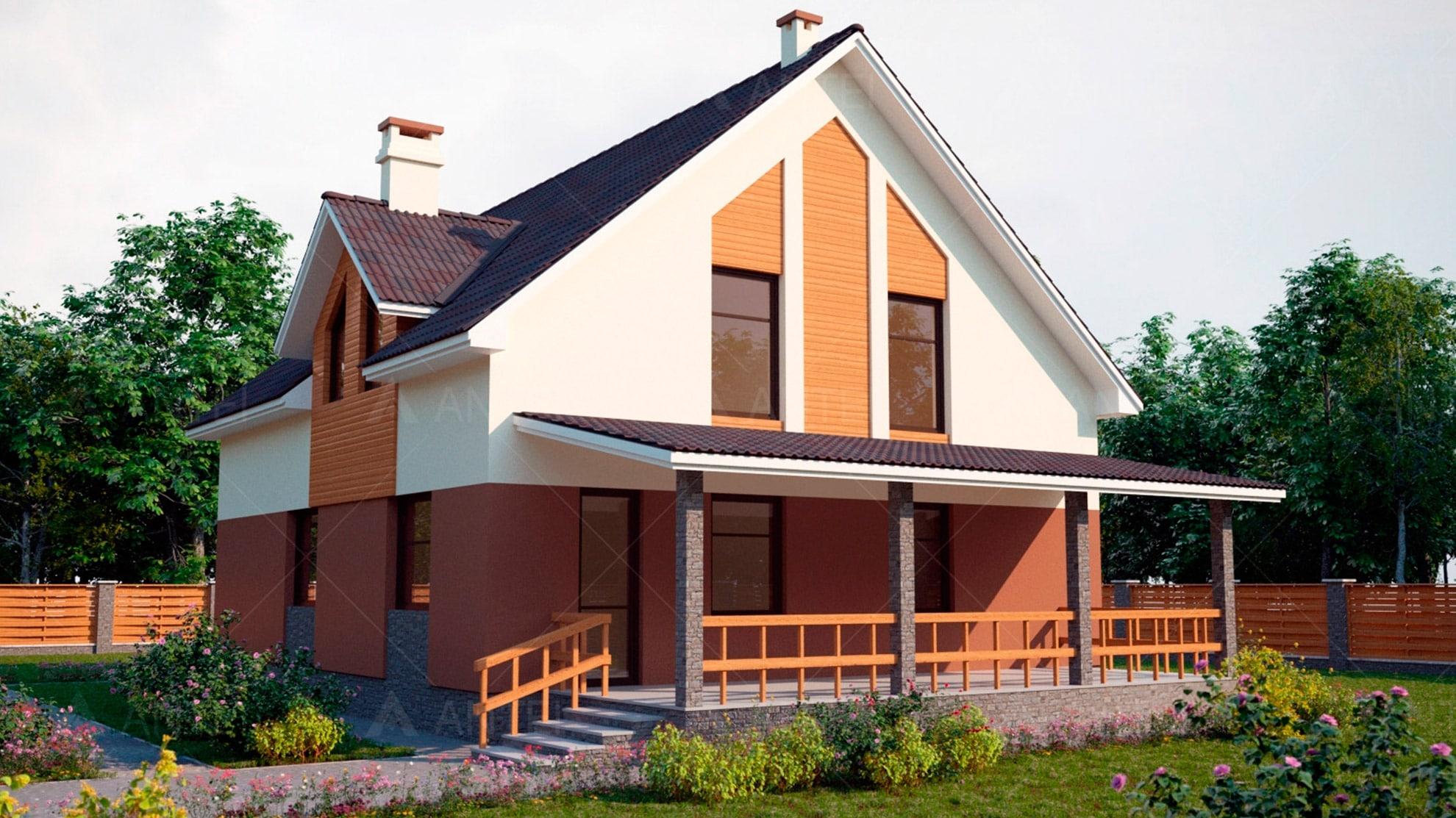 Проект мансардного дома с террасой и балконом «КМ-60» - фото №2