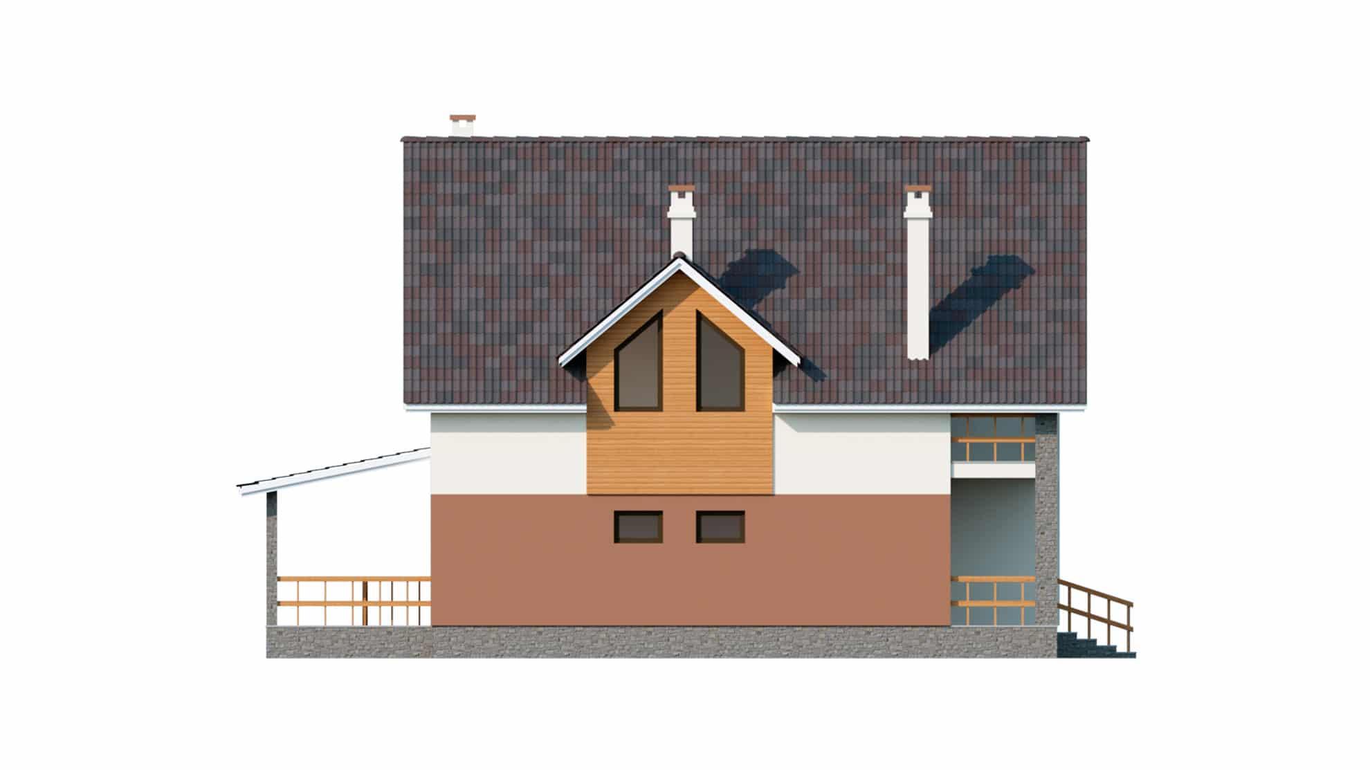 Фасад мансардного дома с террасой и балконом «КМ-60» -справа