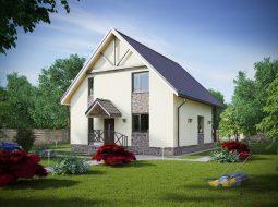 Проект мансардного дома с террасой и балконом «КМ-61»