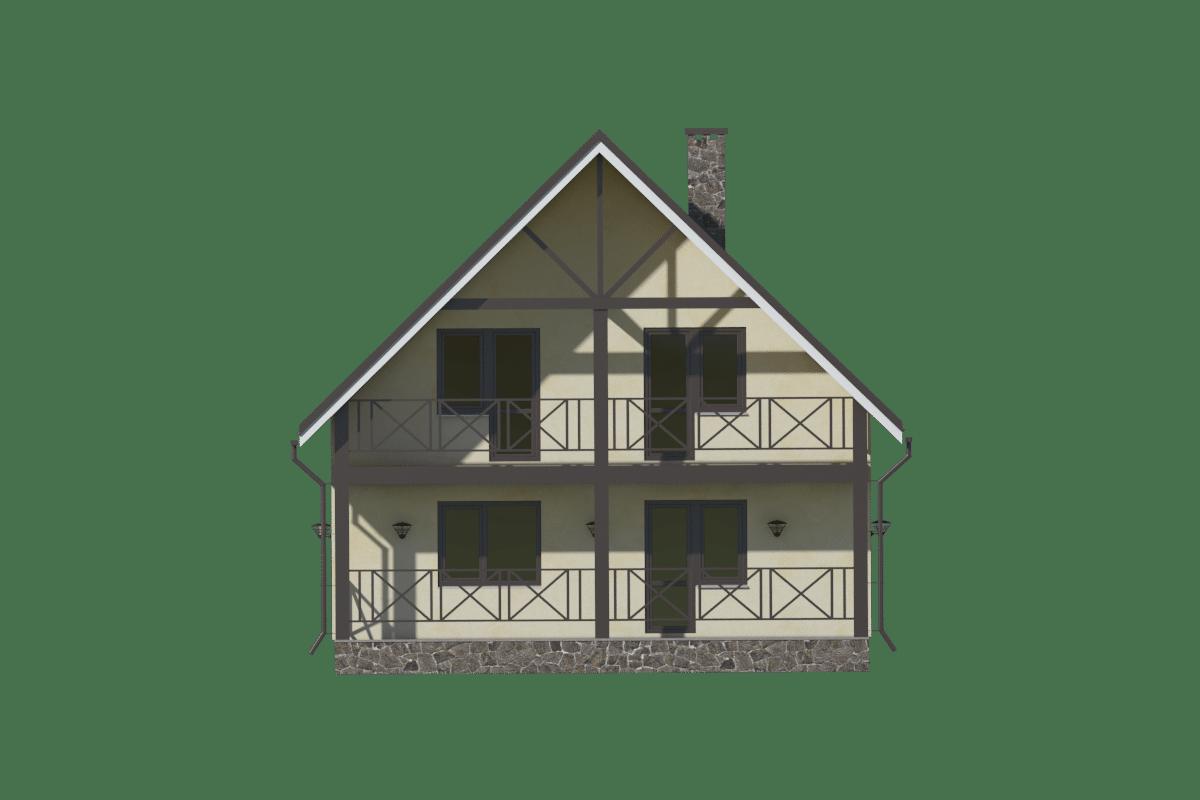Фасад мансардного дома с террасой и балконом «КМ-61» - сзади