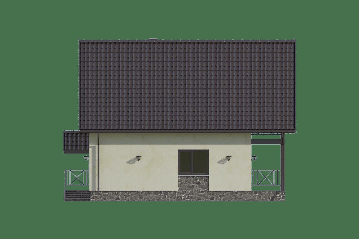 Фасад мансардного дома с террасой и балконом «КМ-61» - справа