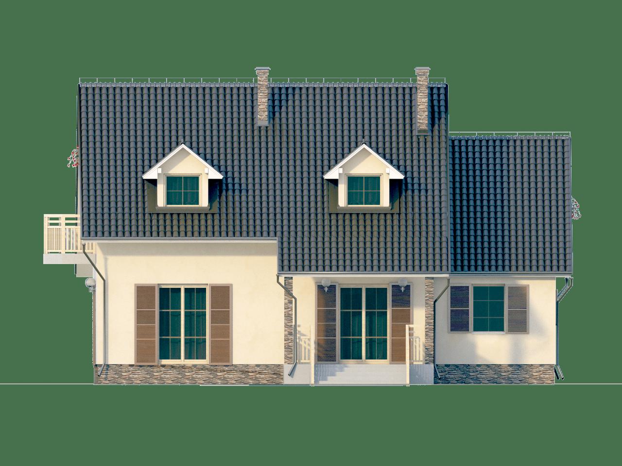Фасад мансардного дома с гаражом, террасой и балконом «КМ-64» - сзади