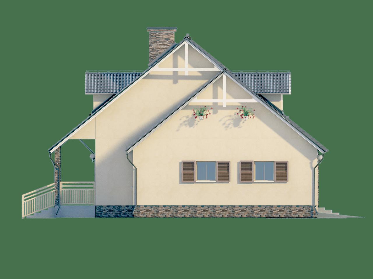 Фасад мансардного дома с гаражом, террасой и балконом «КМ-64» - слева
