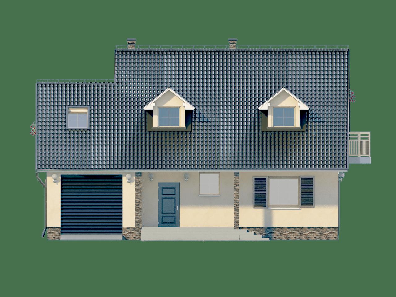 Фасад мансардного дома с гаражом, террасой и балконом «КМ-64» - спереди