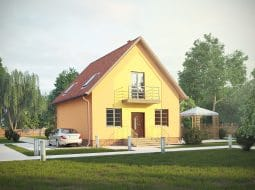 Проект мансардного дома с террасой и балконом «КМ-7»