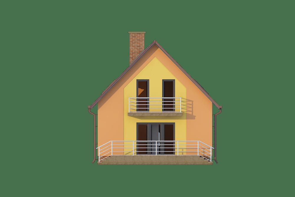 Фасад мансардного дома с террасой и балконом «КМ-7» - сзади