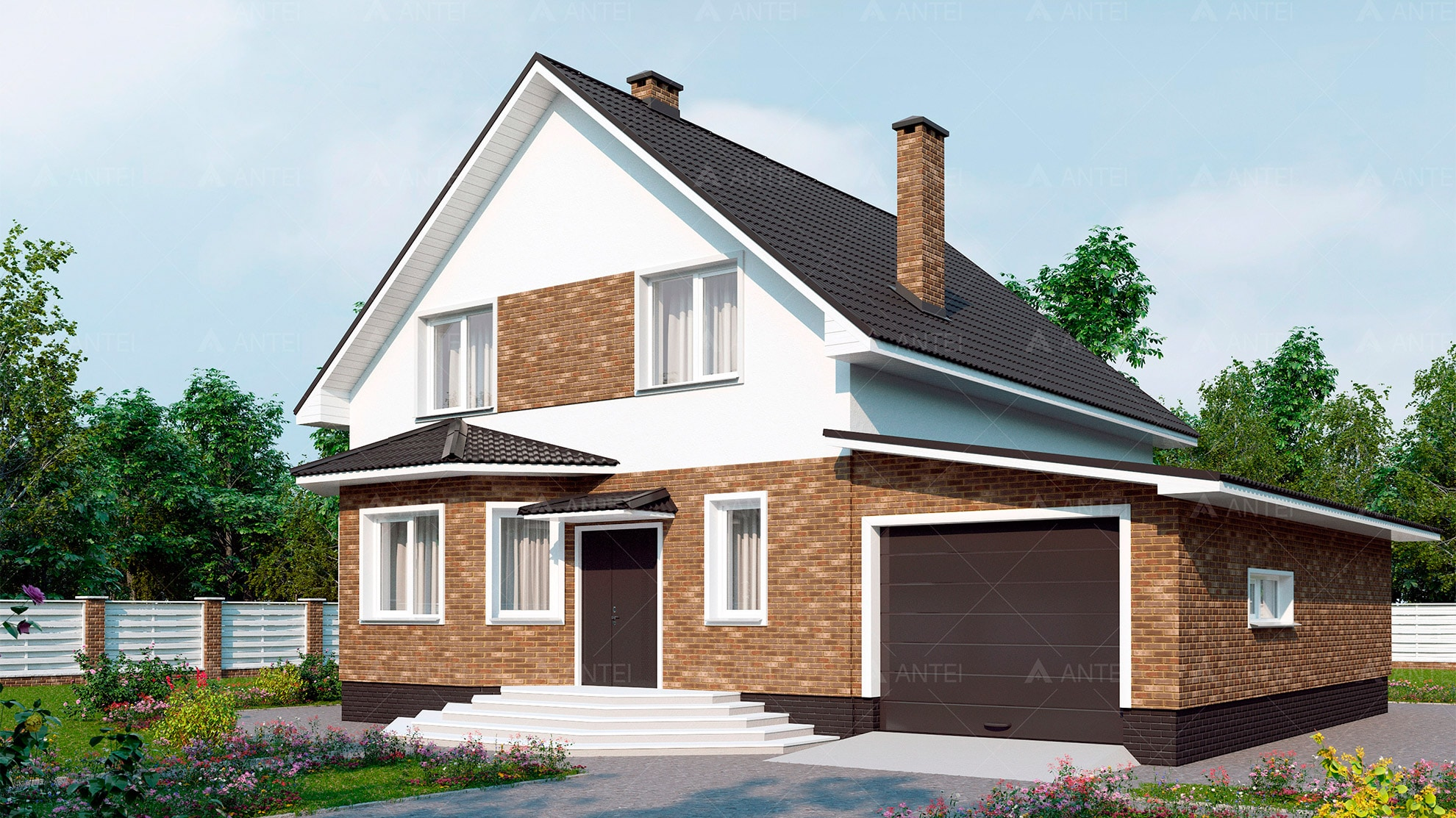 Проект мансардного дома с гаражом «КМ-9» - фото №1