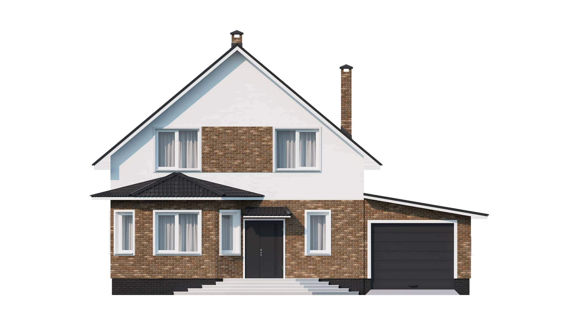Фасад мансардного дома с гаражом «КМ-9» - спереди