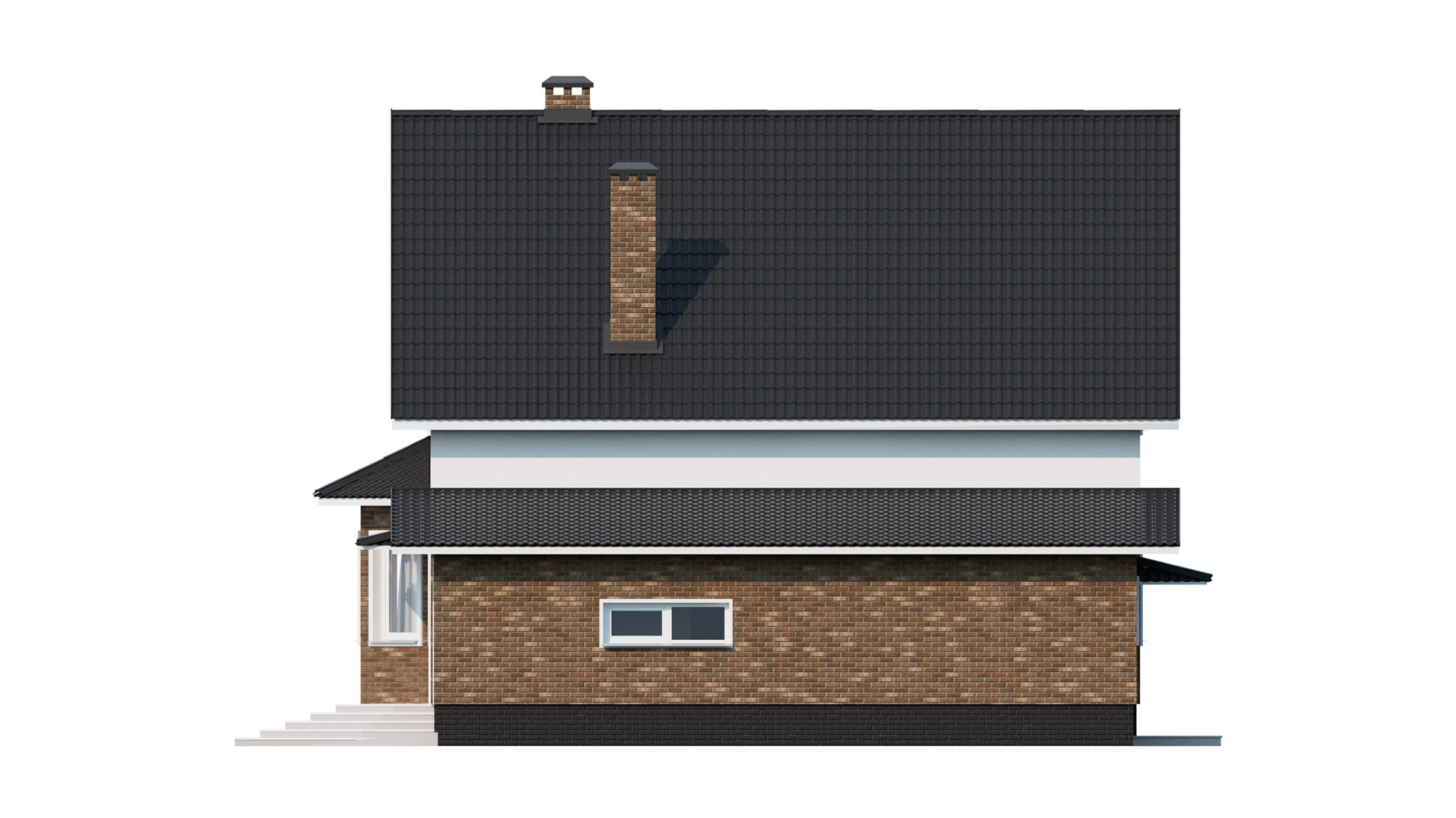 Фасад мансардного дома с гаражом «КМ-9» - справа
