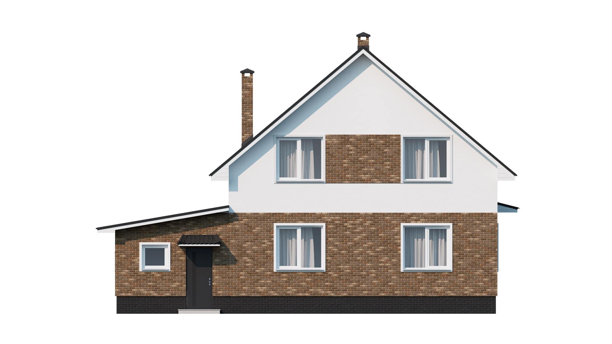 Фасад мансардного дома с гаражом «КМ-9» - сзади