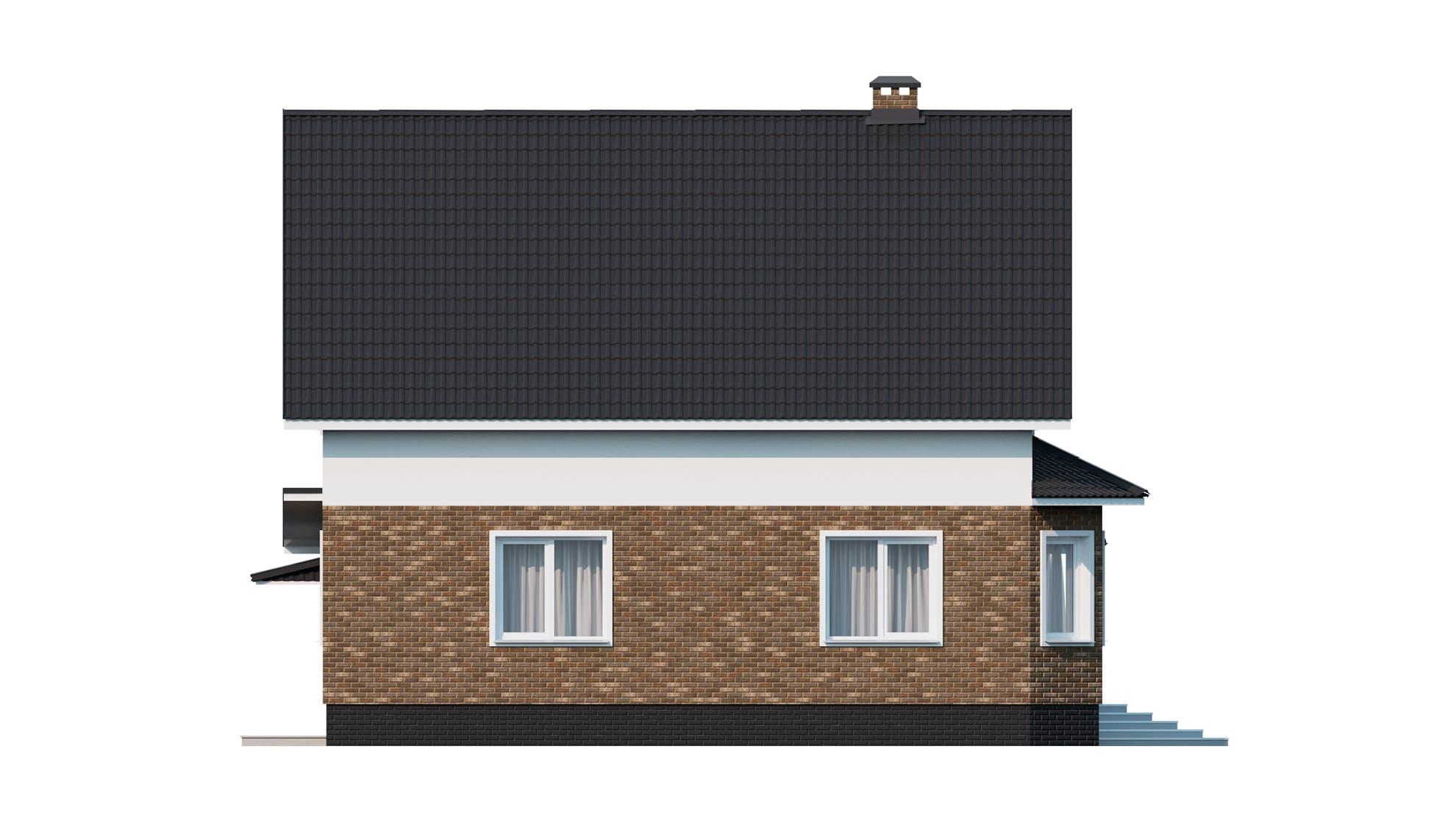 Фасад мансардного дома с гаражом «КМ-9» - слева