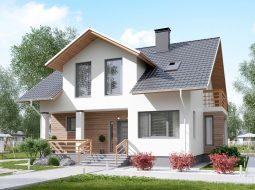 Проект мансардного дома с террасой «КМ-90»