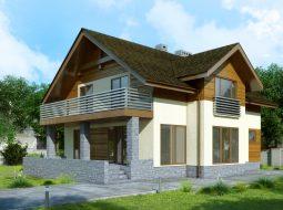 Проект мансардного дома с террасой и балконом «КМ-91»