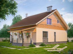 Проект мансардного дома с террасой «КМ-93»