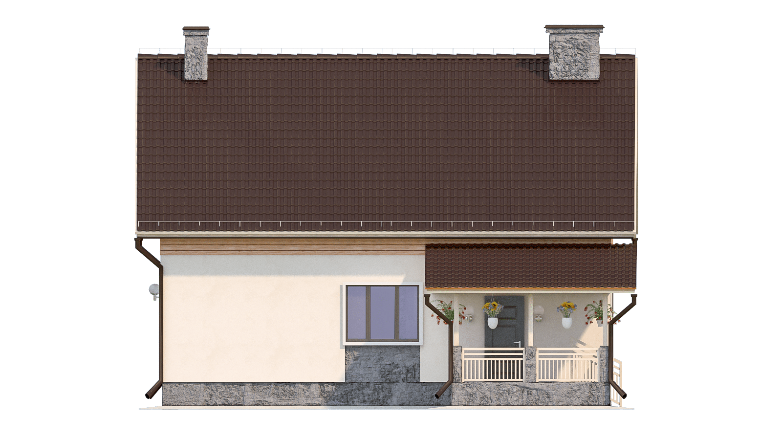 Фасад мансардного дома с террасой «КМ-93» - справа