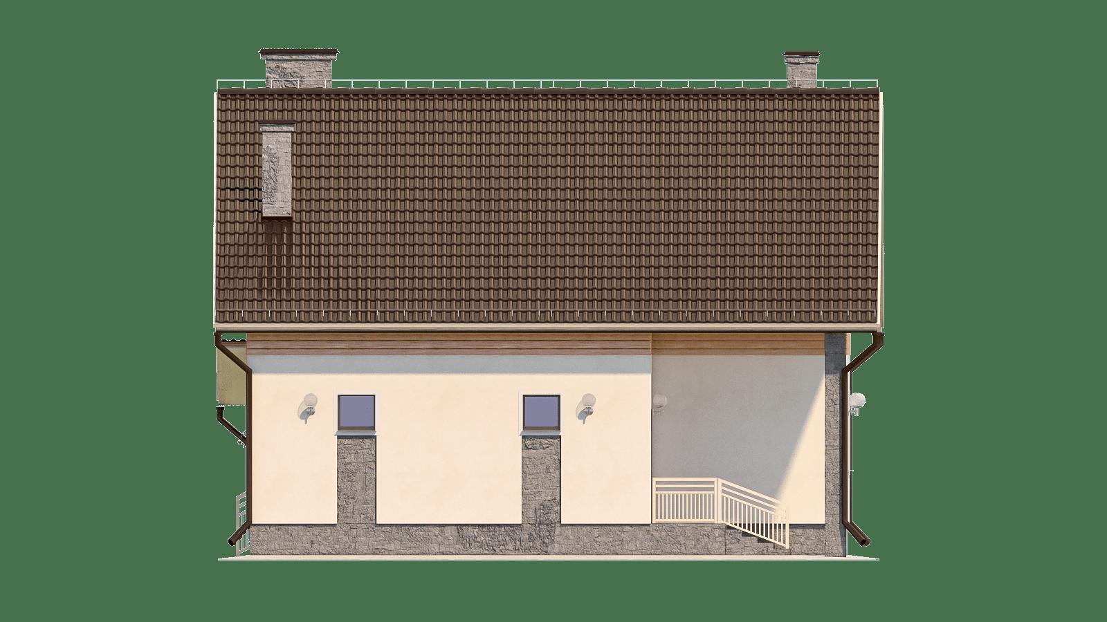 Фасад мансардного дома с террасой «КМ-93» - слева