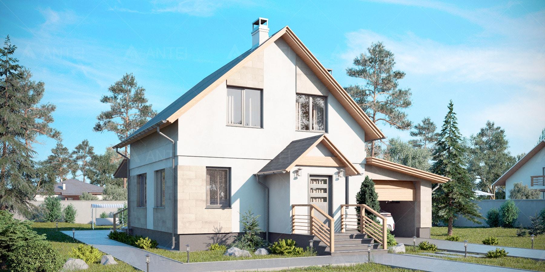 Проект мансардного дома с гаражом и террасой «КМ-94» - фото №1