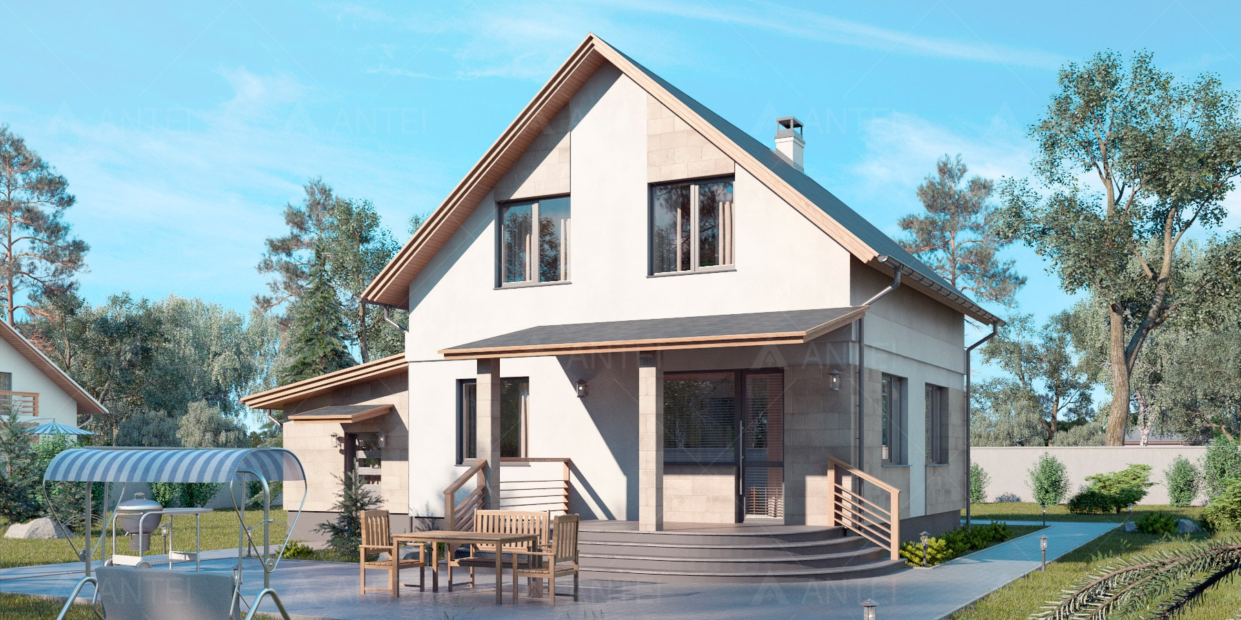 Проект мансардного дома с гаражом и террасой «КМ-94» - фото №2
