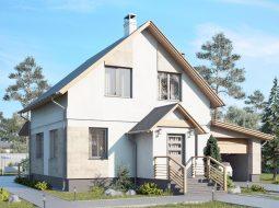 Проект мансардного дома с гаражом и террасой «КМ-94»
