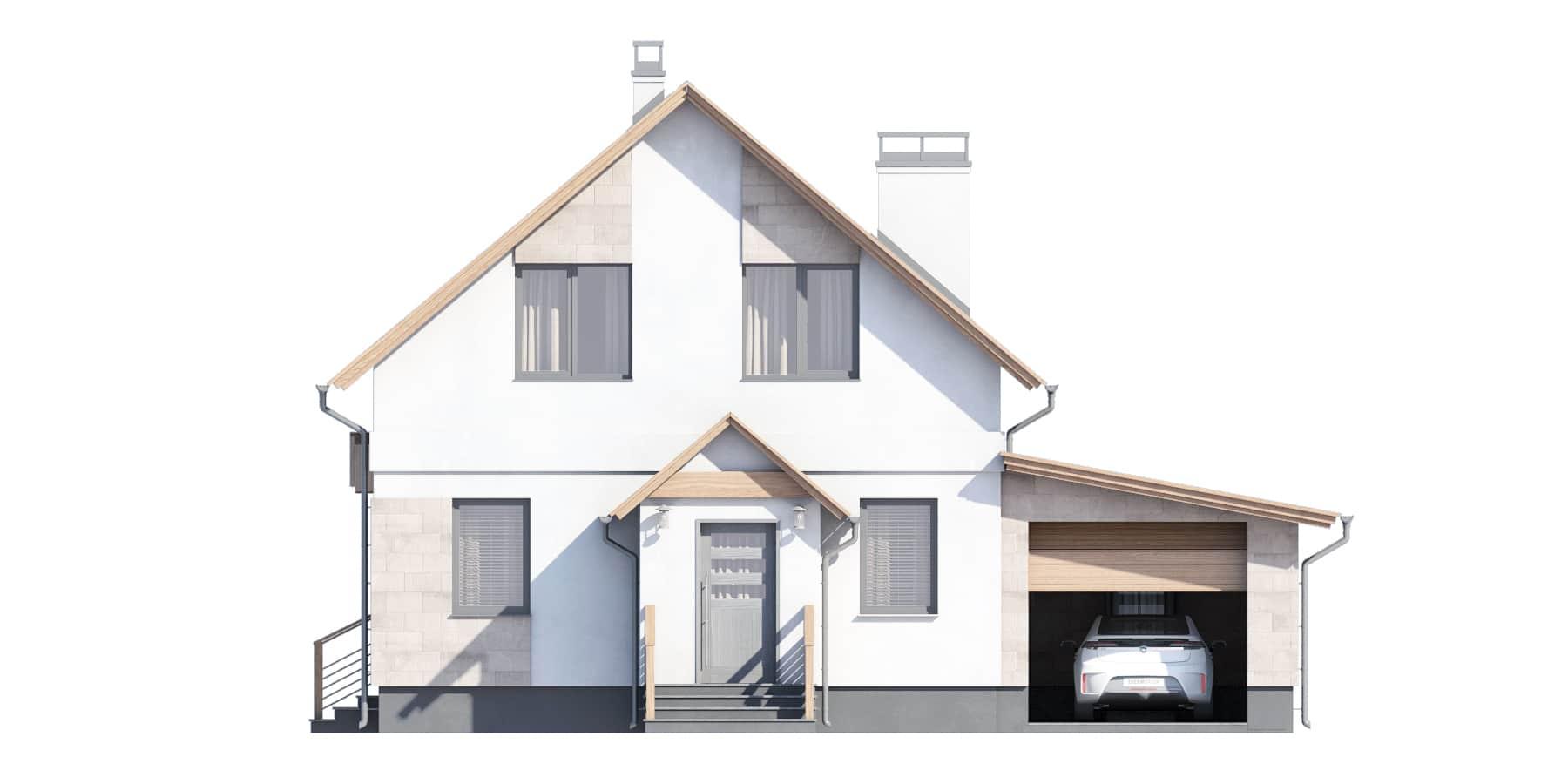 Фасад мансардного дома с гаражом и террасой «КМ-94» - спереди