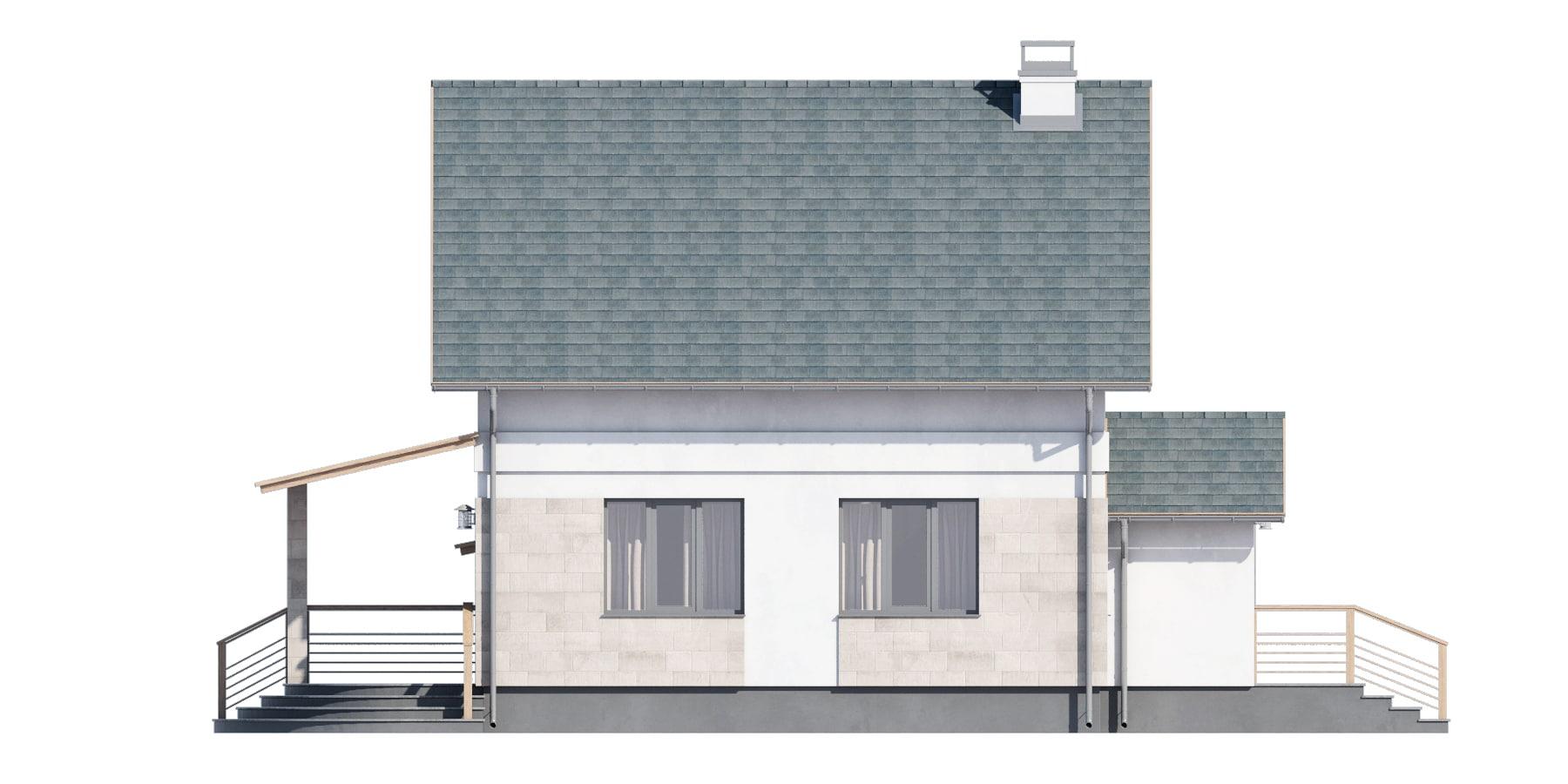 Фасад мансардного дома с гаражом и террасой «КМ-94» - слева