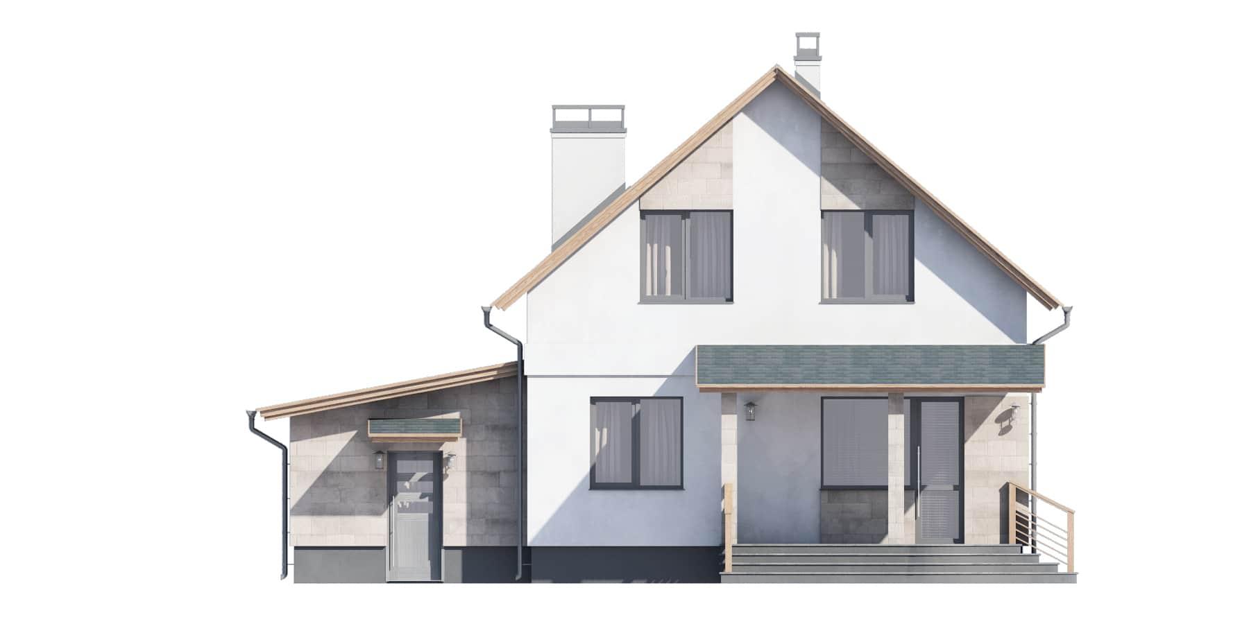 Фасад мансардного дома с гаражом и террасой «КМ-94» - сзади