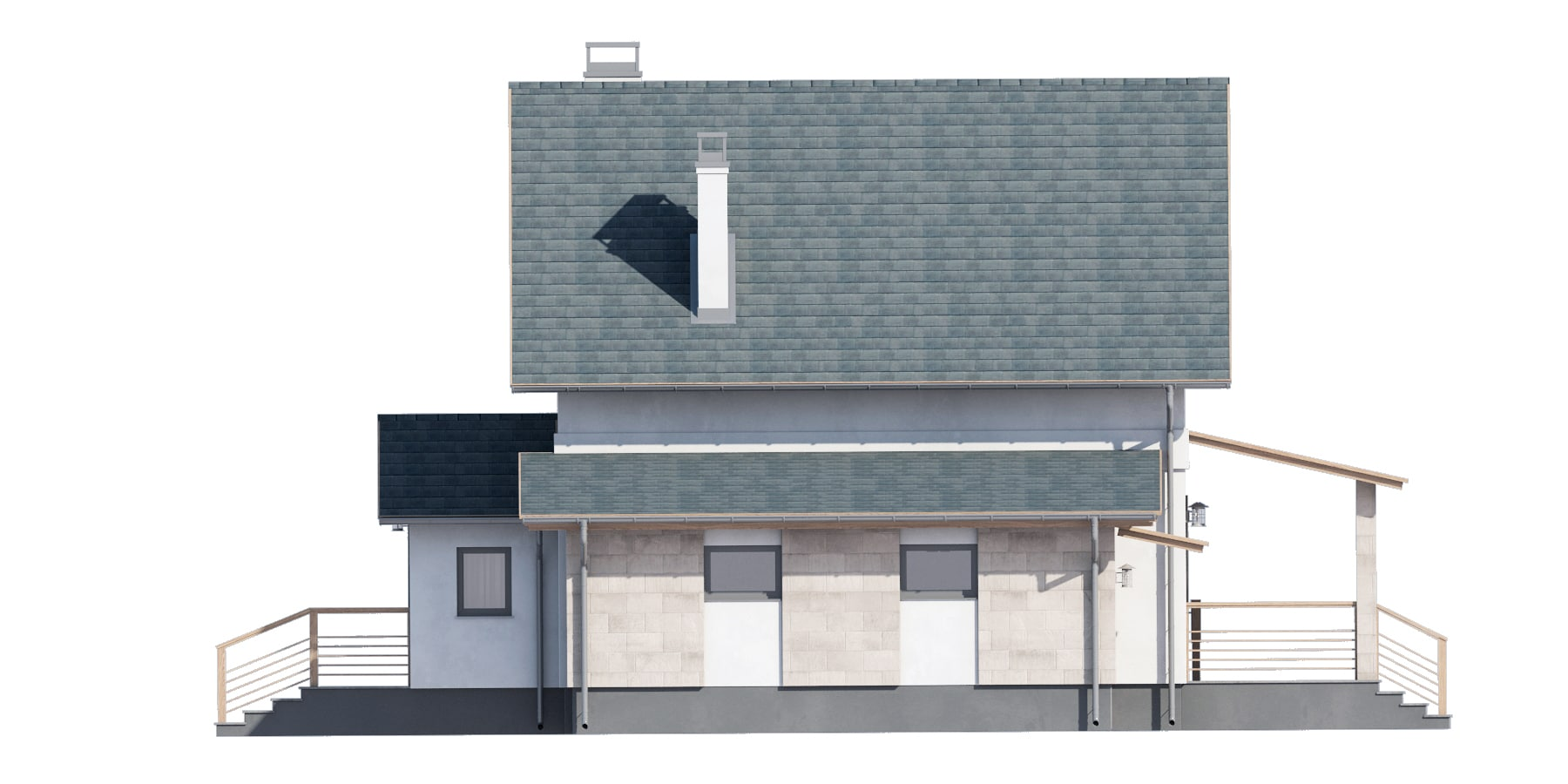 Фасад мансардного дома с гаражом и террасой «КМ-94» - справа
