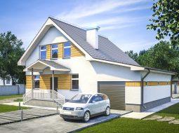 Проект мансардного дома с гаражом и террасой «КМ-96»