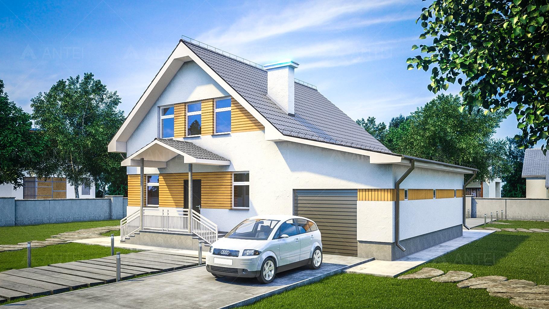 Проект мансардного дома с гаражом и террасой «КМ-96» - фото №2