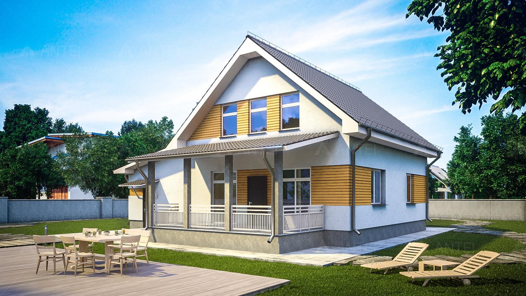 Проект мансардного дома с гаражом и террасой «КМ-96» - фото №1