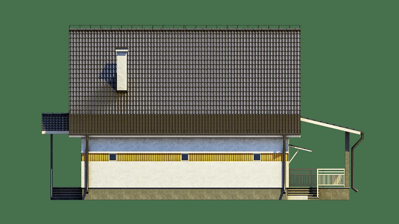 Фасад мансардного дома с гаражом и террасой «КМ-96» - сзади