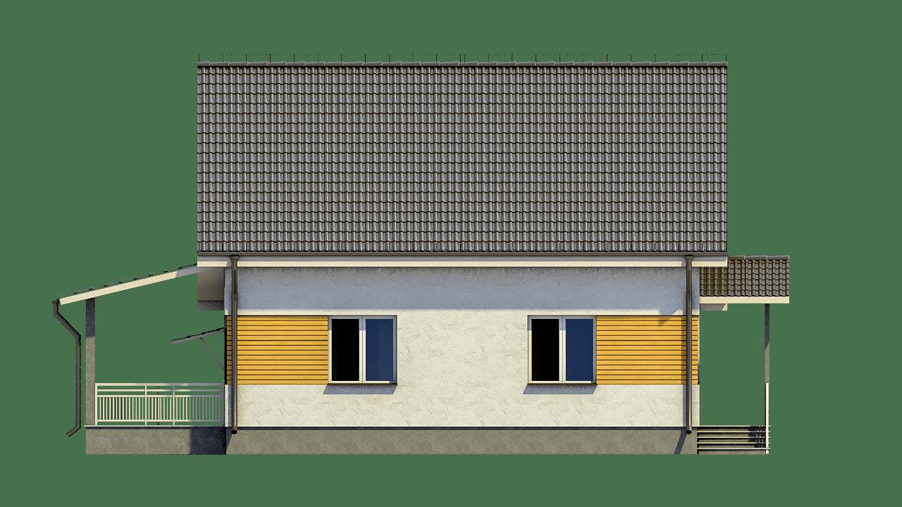 Фасад мансардного дома с гаражом и террасой «КМ-96» - спереди
